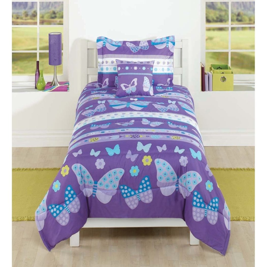 Girls Butterfly Theme Comforter Set Cute Girly Floral Butterflies Stripe Bedding Bright Pretty Horizontal Stripe Flower Themed Pattern