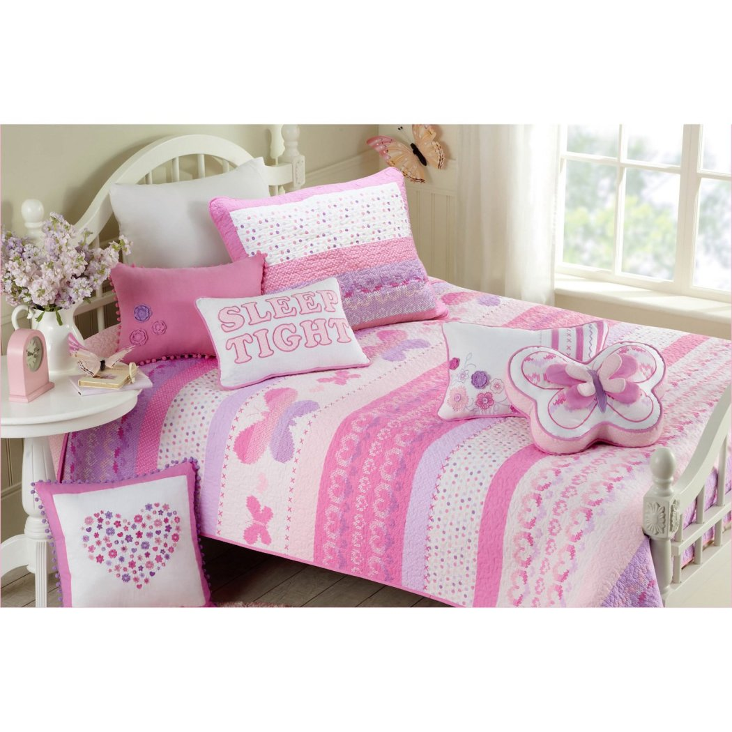 Kids Butterfly Quilt Set Girls Animal Polka Dot Heart Shapes Bedding Pretty Floral Flowers Horizontal Stripes Cotton