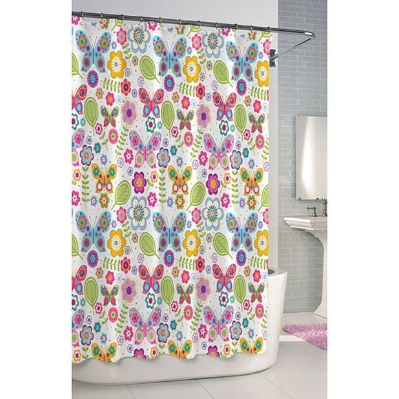 Floral Butterfly Themed Shower Curtain Colorful Pretty Flowers Butterflies Indie Inspired Hippy Spirit Gorgeous Bright Design Bathtub Curtain Vibrant - Diamond Home USA