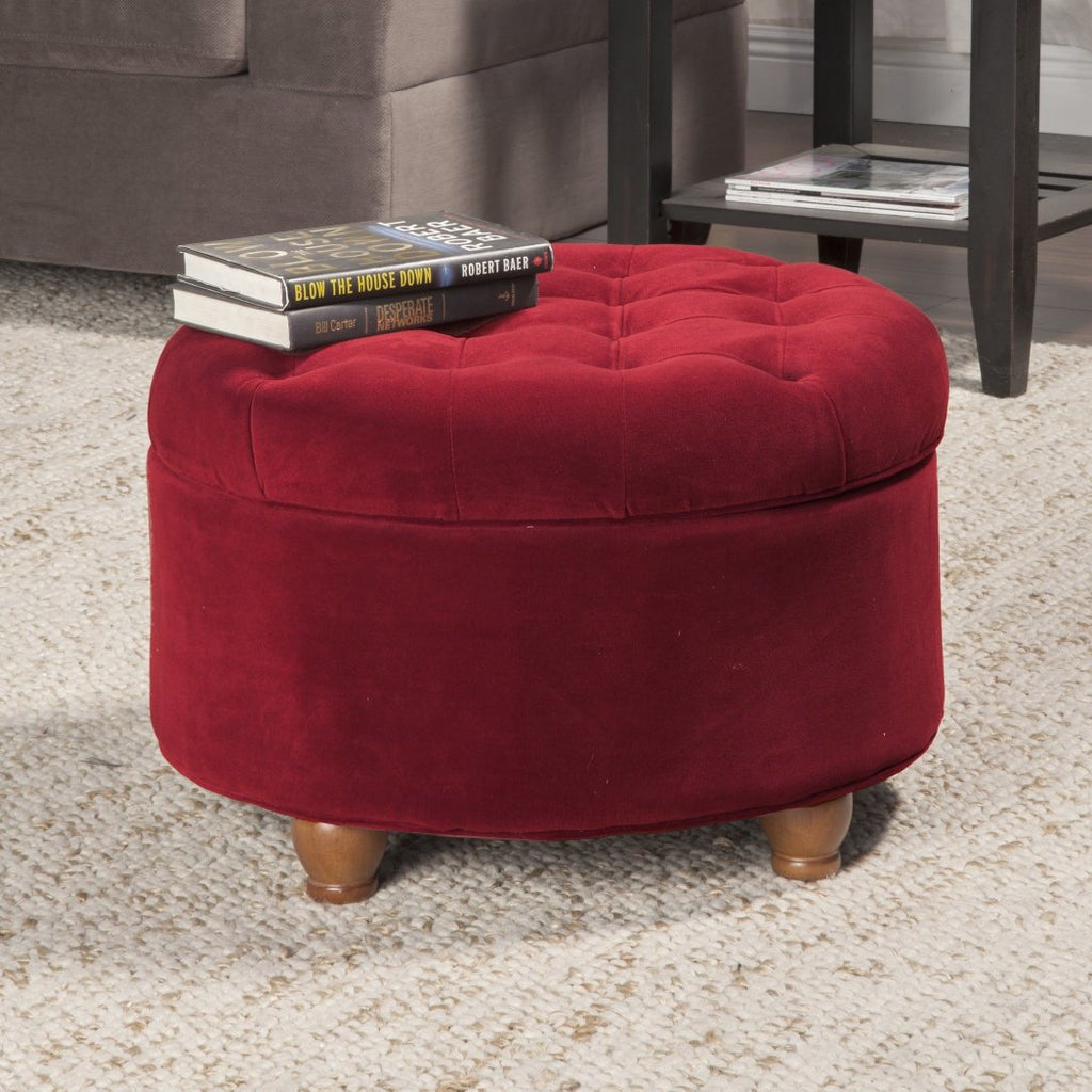 Traditional Classic Round Ottoman Burgundy Tufted Button Lid Top Storage Space Rich Deep Berry Ruby Red Round Footstool - Diamond Home USA