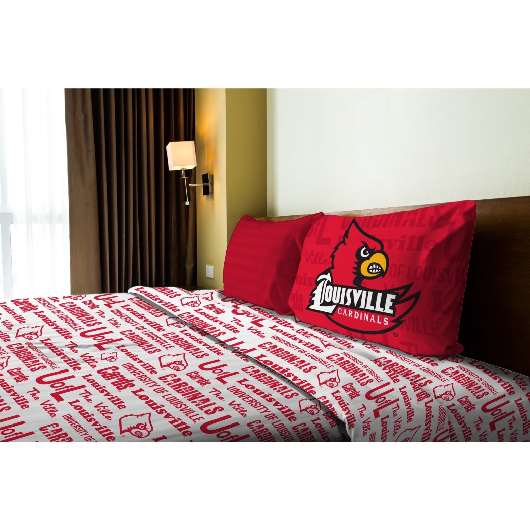 NCAA COL Louisville Cardinals Anthem Twin Sheet Set Red White Sports Patterned Bedding Team Logo Louisville Merchandise Team Spirit College Football - Diamond Home USA