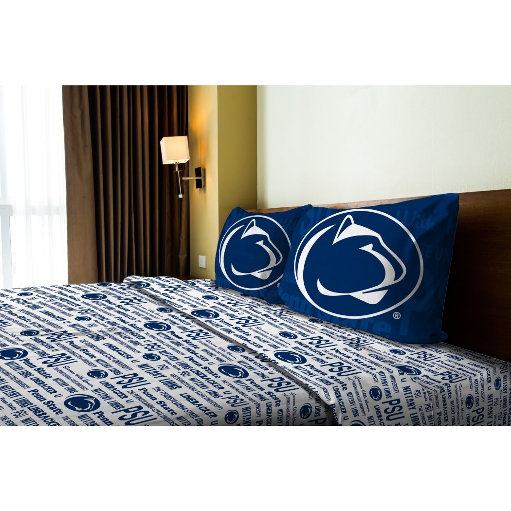 NCAA COL Penn State Nittany Lions State College Full Sheet Set Blue White Sports Patterned Bedding Team Logo Penn State Merchandise Team Spirit - Diamond Home USA