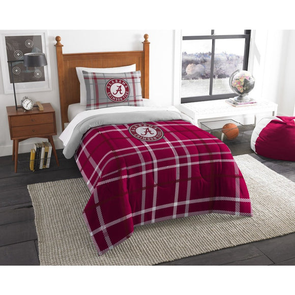 NCAA COL Alabama Crimson Tide Tuscaloosa Football Twin Comforter Set Red Grey Sports Patterned Bedding Team Logo Alabama Merchandise Team Spirit - Diamond Home USA