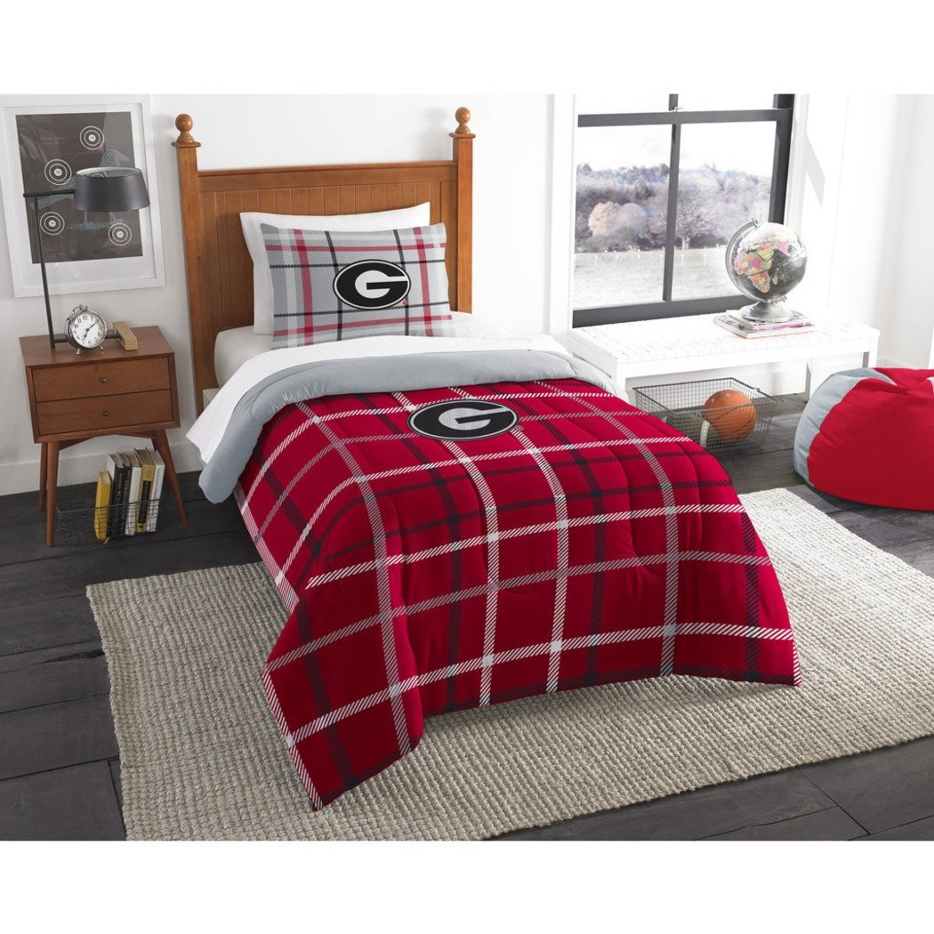 NCAA COL Georgia Bulldogs Athens Twin Comforter Set Black Grey Red Sports Patterned Bedding Team Logo Georgia Merchandise Team Spirit College Football - Diamond Home USA
