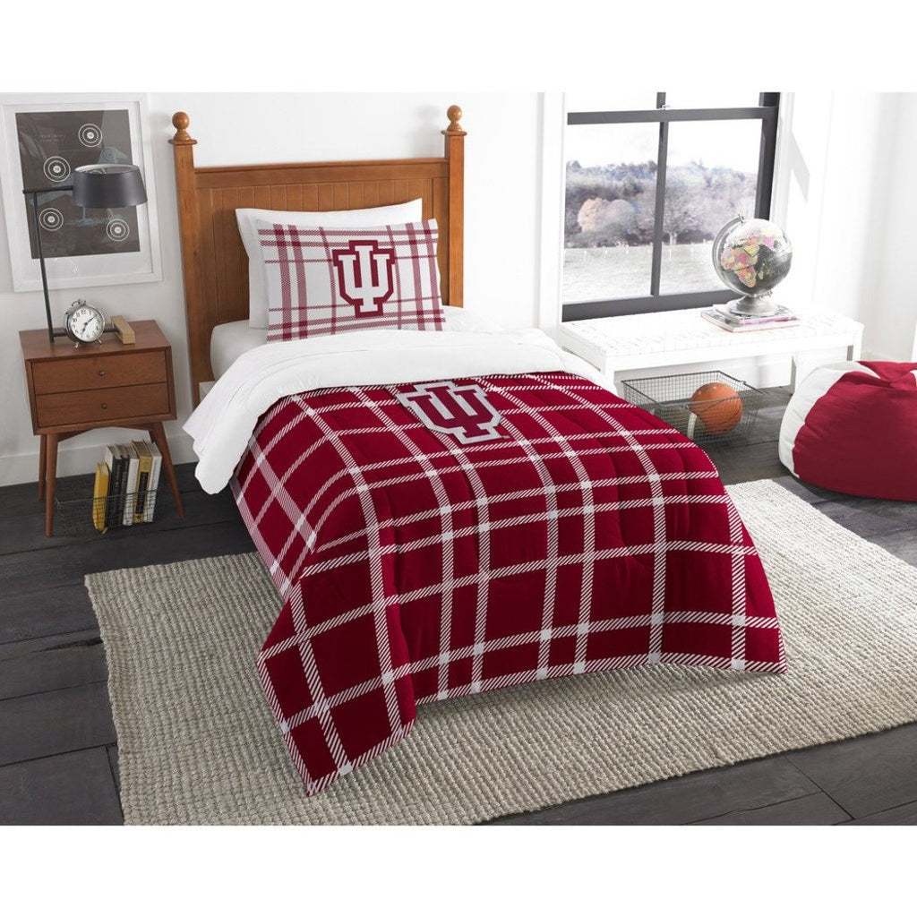 NCAA COL Indiana Hoosiers Bloomington Twin Comforter Set Red White Sports Patterned Bedding Team Logo Indiana Merchandise Team Spirit College Football - Diamond Home USA