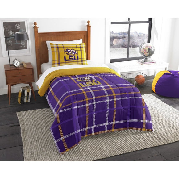Twin NCAA COL LSU Tiger Baton Rouge Comforter Set Purple Yellow Sports Patterned Bedding Team Logo LSU Tiger Merchandise Team Spirit College Football - Diamond Home USA