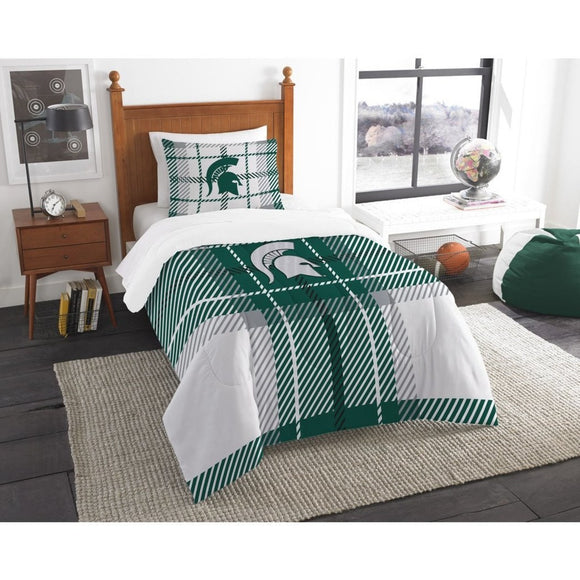 NCAA COL Michigan State Spartans East Lansing Twin Comforter Set Green White Sports Patterned Bedding Team Logo Michigan State Merchandise Team Spirit - Diamond Home USA