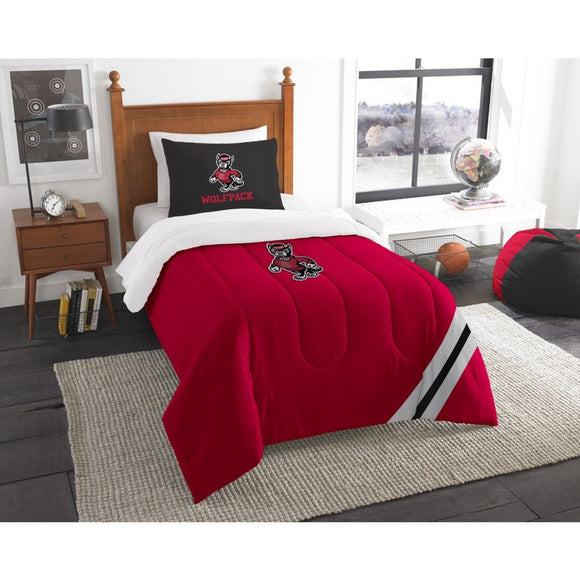 NCAA COL NC State Wolfpack Raleigh Twin Comforter Set Red Black Sports Patterned Bedding Team Logo NC State Merchandise Team Spirit College Football - Diamond Home USA