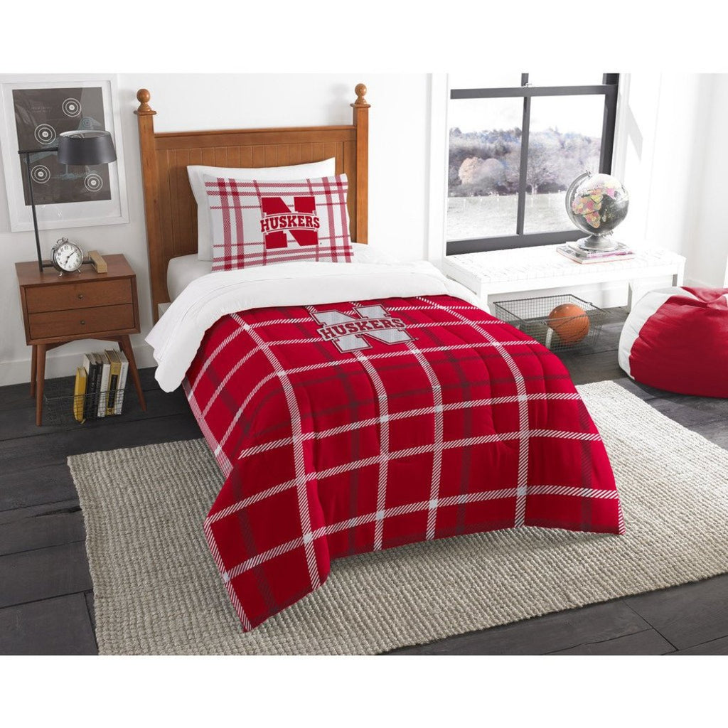 NCAA COL Nebraska Cornhuskers Lincoln Twin Comforter Set Red White Sports Patterned Bedding Team Logo Nebraska Merchandise Team Spirit College - Diamond Home USA