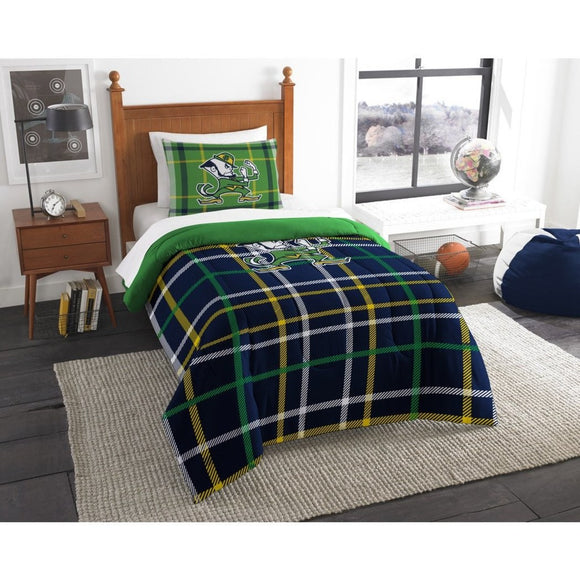 NCAA Indiana Notre Dame Twin Comforter Set Blue Green Sports Patterned Bedding Team Logo Notre Dame Merchandise Team Spirit College Football Themed - Diamond Home USA