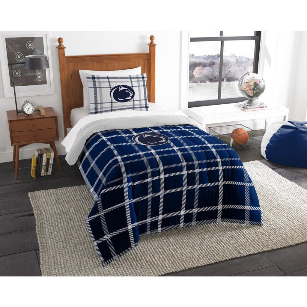 NCAA Philadelphia Pennsylvania Twin Comforter Set Blue White Sports Patterned Bedding Team Logo Peen Merchandise Team Spirit College Football Themed - Diamond Home USA