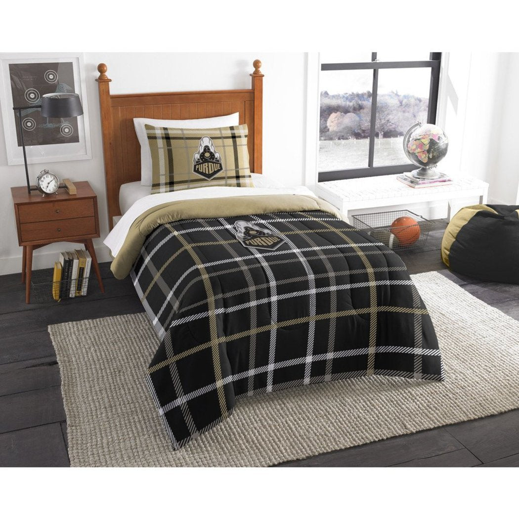 NCAA Purdue Boilermakers West Lafayette Twin Comforter Set Black Sports Patterned Bedding Team Logo Purdue Merchandise Team Spirit College Football - Diamond Home USA