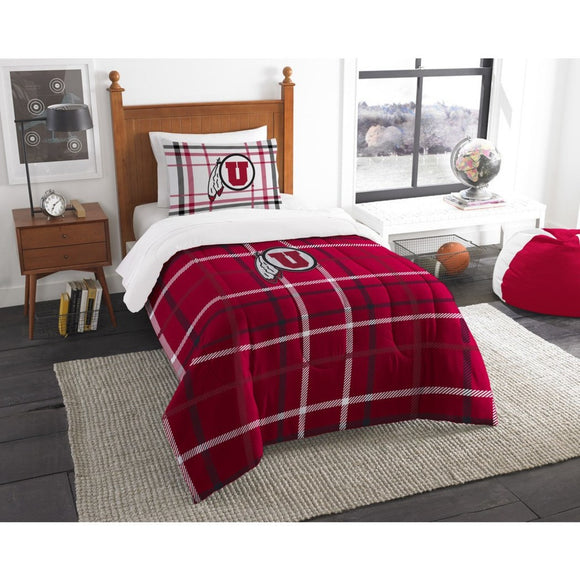 NCAA COL Utah Utes Salt Lake City Twin Comforter Set Red White Sports Patterned Bedding Team Logo Utah Merchandise Team Spirit College Football Themed - Diamond Home USA