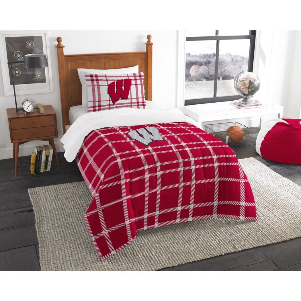 NCAA COL Wisconsin Badgers Madison Twin Comforter Set Red White Sports Patterned Bedding Team Logo Wisconsin Merchandise Team Spirit College Football - Diamond Home USA