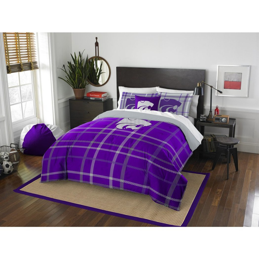 NCAA Kansas State Wildcats Manhattan Full Comforter Set Purple Grey Sports Patterned Bedding Team Logo Kansas City Merchandise Team Spirit College - Diamond Home USA