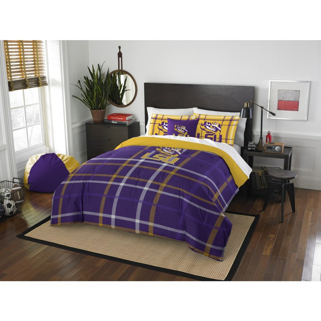 NCAA COL LSU Tiger Baton Rouge Full Comforter Set Purple Yellow Sports Patterned Bedding Team Logo LSU Tiger Merchandise Team Spirit College Football - Diamond Home USA