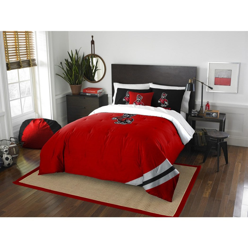 NCAA COL NC State Wolfpack Raleigh Full Comforter Set Red Black White Sports Patterned Bedding Team Logo NC State Merchandise Team Spirit College - Diamond Home USA
