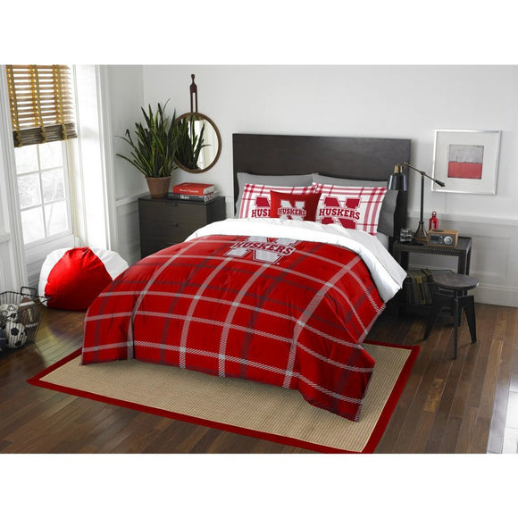 NCAA COL Nebraska Cornhuskers Lincoln Full Comforter Set Red White Sports Patterned Bedding Team Logo Nebraska Merchandise Team Spirit College - Diamond Home USA
