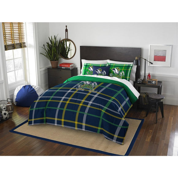 NCAA Indiana Notre Dame Full Comforter Set Blue Green Sports Patterned Bedding Team Logo Notre Dame Merchandise Team Spirit College Football Themed - Diamond Home USA