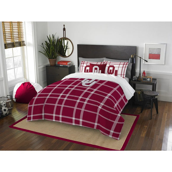 NCAA Oklahoma Sooners Norman Full Comforter Set Red White Sports Patterned Bedding Team Logo Oklahoma Merchandise Team Spirit College Football Themed - Diamond Home USA