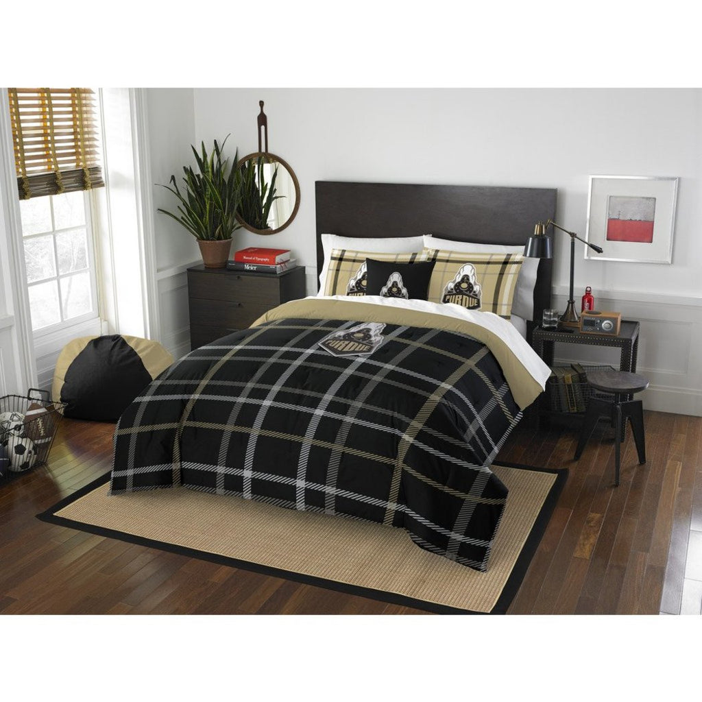 NCAA Purdue Boilermakers West Lafayette Full Comforter Set Black Sports Patterned Bedding Team Logo Purdue Merchandise Team Spirit College Football - Diamond Home USA