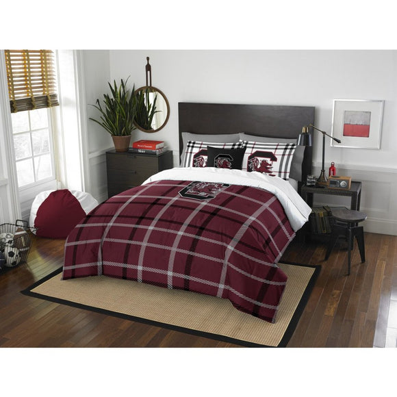 NCAA South Carolina Gamecocks Columbia Full Comforter Set Red Garnet Black Sports Patterned Bedding Team Logo South Carolina Merchandise Team Spirit - Diamond Home USA