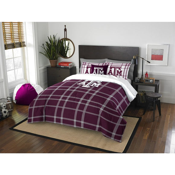 Full NCAA Texas &M Aggies Comforter Set Maroon White Sports Patterned Bedding Team Logo Texas &M Merchandise Team Spirit College Football Themed - Diamond Home USA