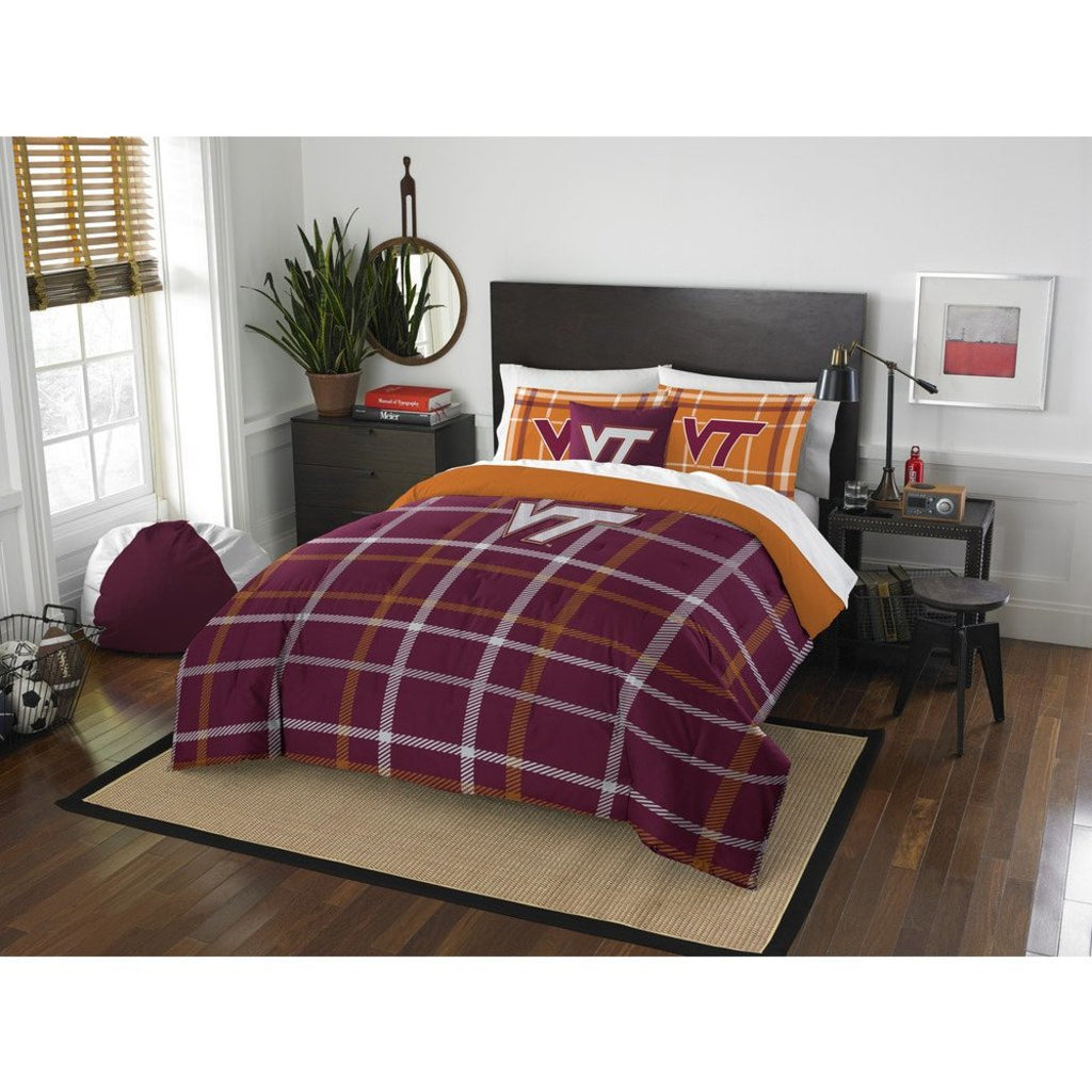 Full NCAA Charlottesville Virginia Tech Comforter Set Red Orange Sports Patterned Bedding Team Logo Virginia Merchandise Team Spirit College Football - Diamond Home USA
