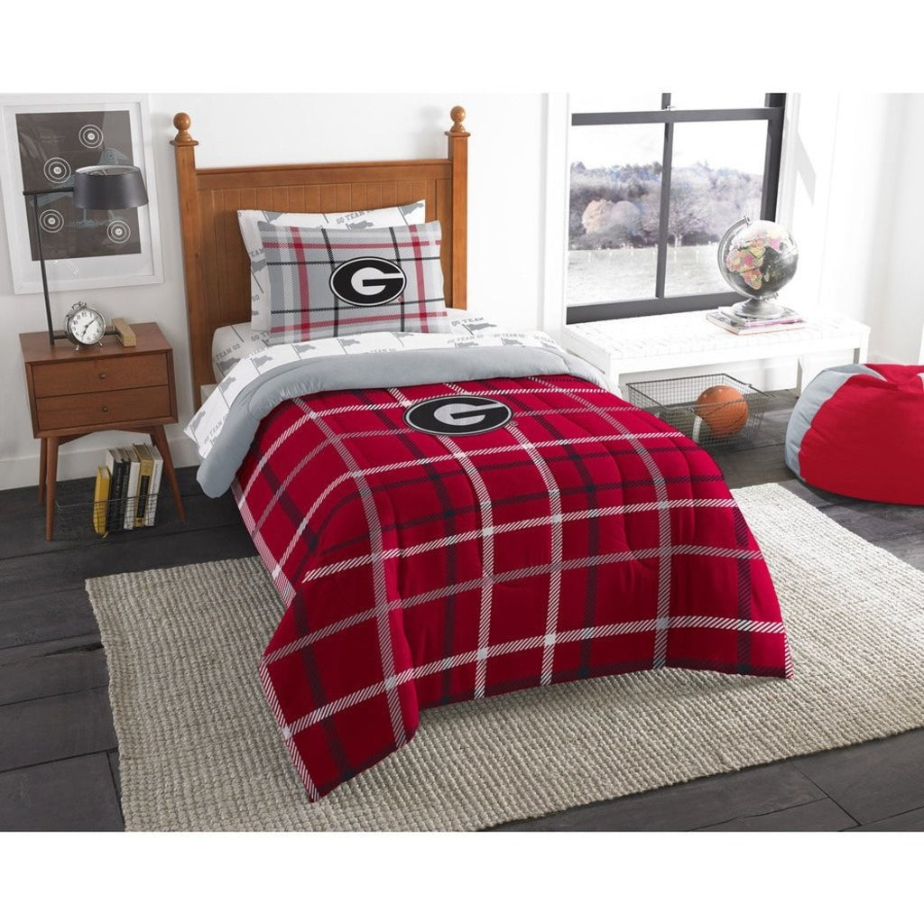 Twin NCAA Collegiate Georgia Comforter Set Red Grey Sports Patterned Bedding Team Logo Georgia Merchandise Team Spirit College Football Themed - Diamond Home USA