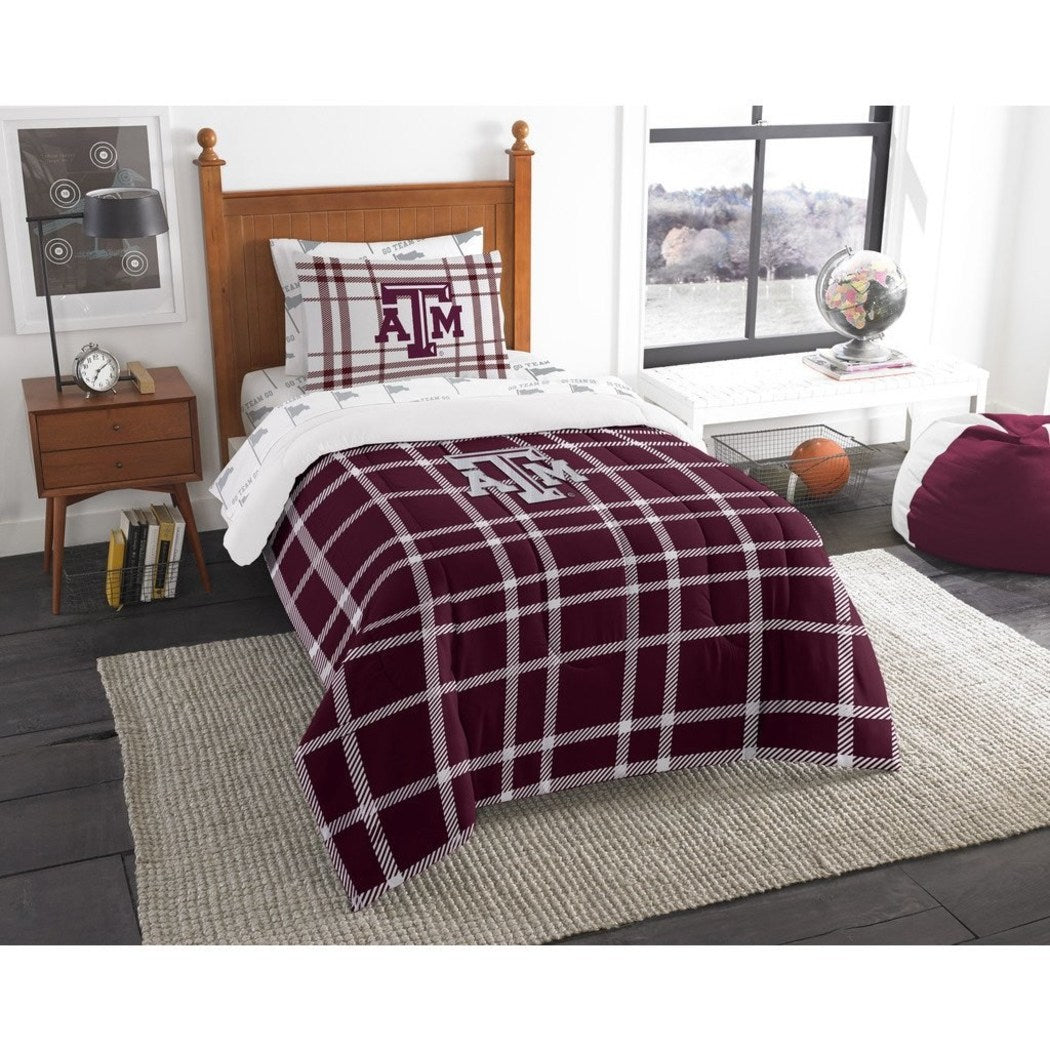 NCAA COL Texas &M Aggies College Station Twin Comforter Set Maroon White Sports Patterned Bedding Team Logo Texas &M Merchandise Team Spirit College - Diamond Home USA