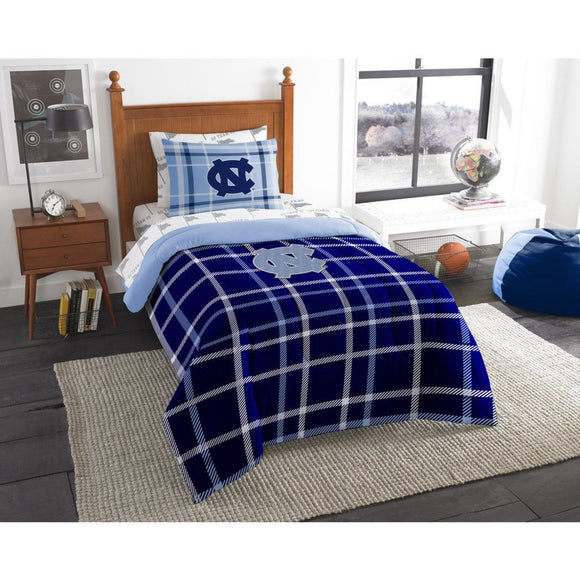 NCAA North Carolina Tar Heels Chapel Hill Twin Comforter Set Aqua Blue White Sports Patterned Bedding Team Logo UNC Merchandise Team Spirit College - Diamond Home USA