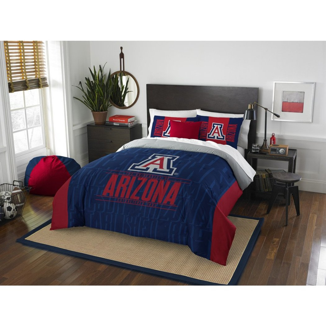 NCAA University Arizona Wildcats Comforter Full Queen Set Sports Patterned Bedding Team Logo Fan Merchandise Team Spirit College Basket Ball Themed - Diamond Home USA