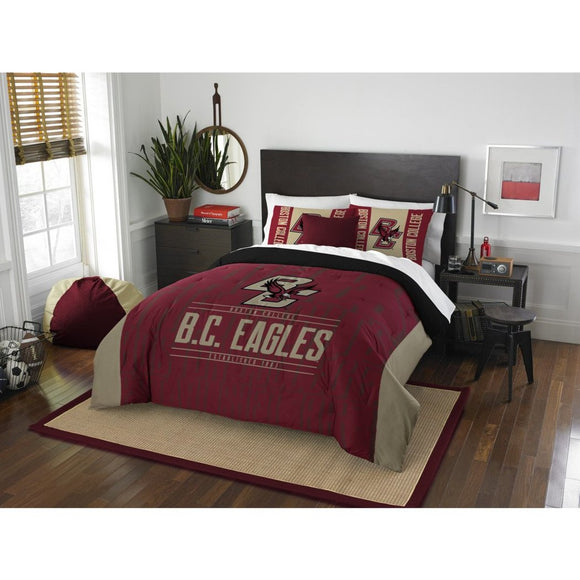 NCAA Boston College Eagles Comforter Full Queen Set Sports Patterned Bedding Team Logo Fan Merchandise Team Spirit College Basket Ball Themed Gold Red - Diamond Home USA