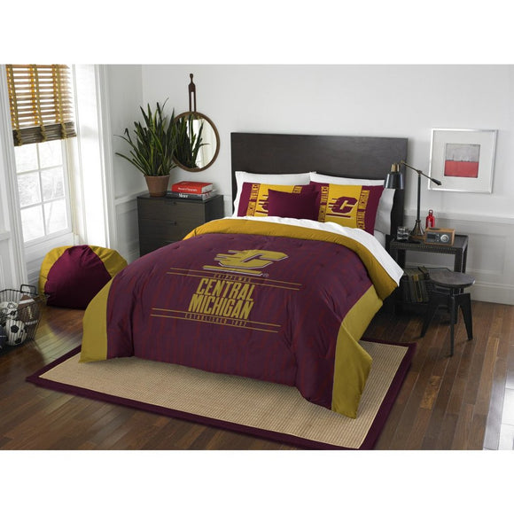 NCAA Central Michigan Chippewas Comforter Full Queen Set Sports Patterned Bedding Team Logo Fan Merchandise Team Spirit College Basket Ball Themed - Diamond Home USA