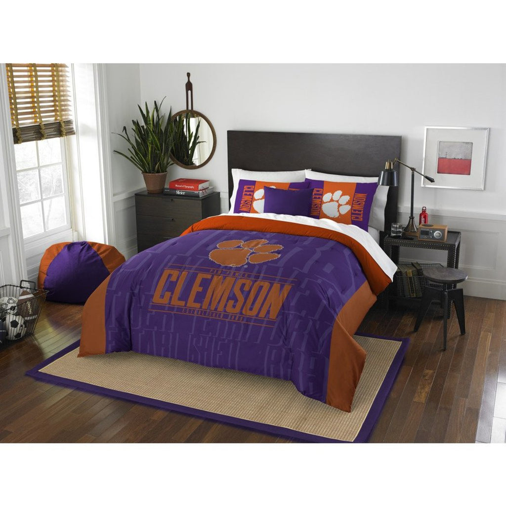 NCAA Clemson Tigers College Paw Power Comforter Full Queen Set Sports Patterned Bedding Team Logo Fan Merchandise Team Spirit College Basket Ball - Diamond Home USA