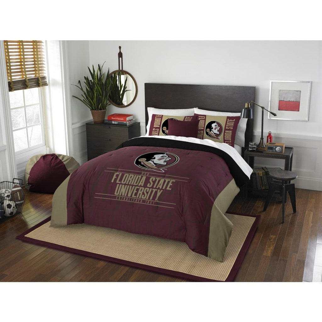 NCAA Florida State University Seminoles Comforter Full Queen Set Sports Patterned Bedding Team Logo Fan Merchandise Team Spirit College Basket Ball - Diamond Home USA
