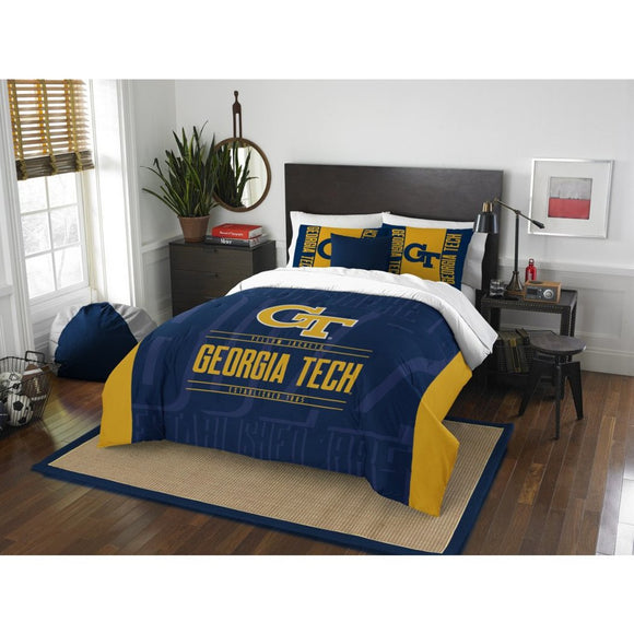 NCAA Georgia Tech Yellow Jackets Comforter Full Queen Set Sports Patterned Bedding Team Logo Fan Merchandise Team Spirit College Basket Ball Themed - Diamond Home USA