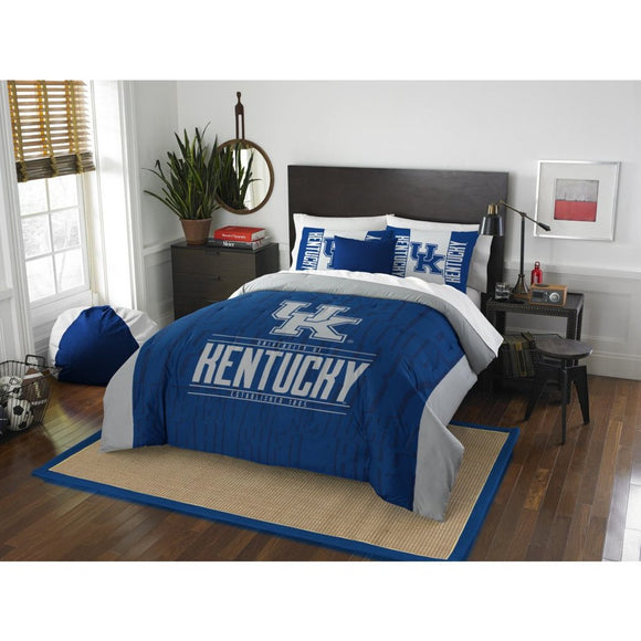 NCAA University Kentucky Wildcats Comforter Full Queen Set Sports Patterned Bedding Team Logo Fan Merchandise Team Spirit College Basket Ball Themed - Diamond Home USA