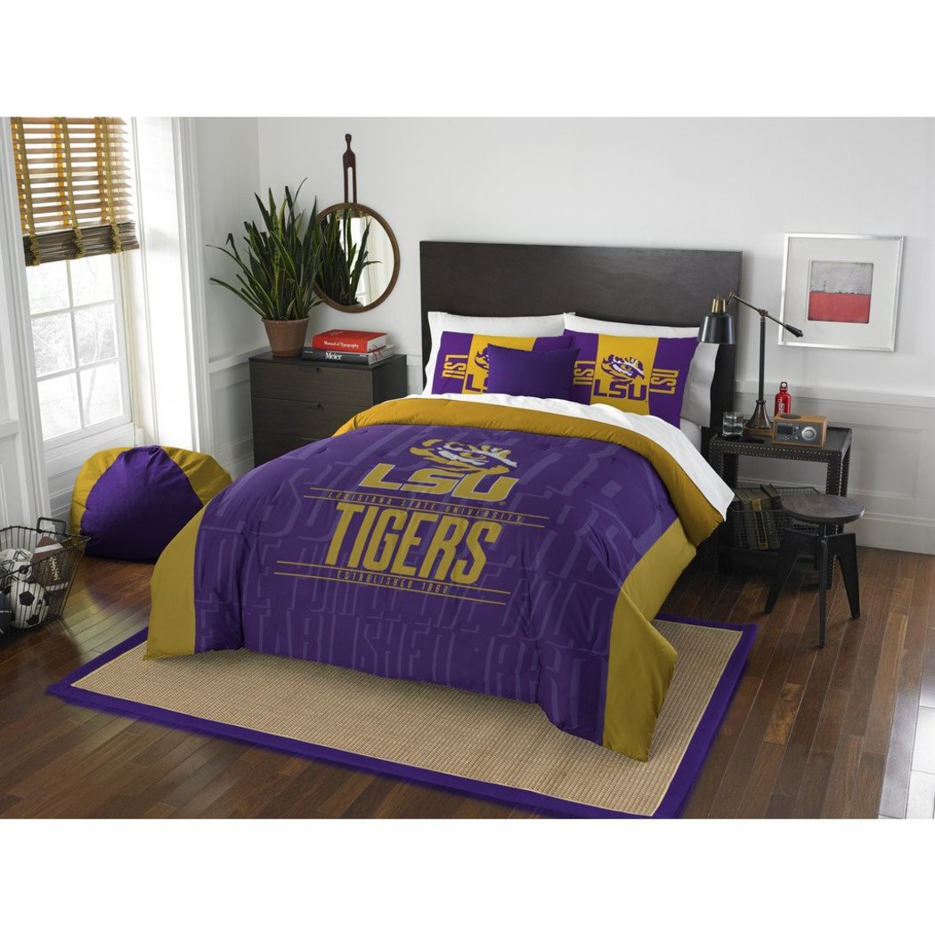 NCAA Louisiana State University Tigers Comforter Full Queen Set Sports Patterned Bedding Team Logo Fan Merchandise Team Spirit College Basket Ball - Diamond Home USA