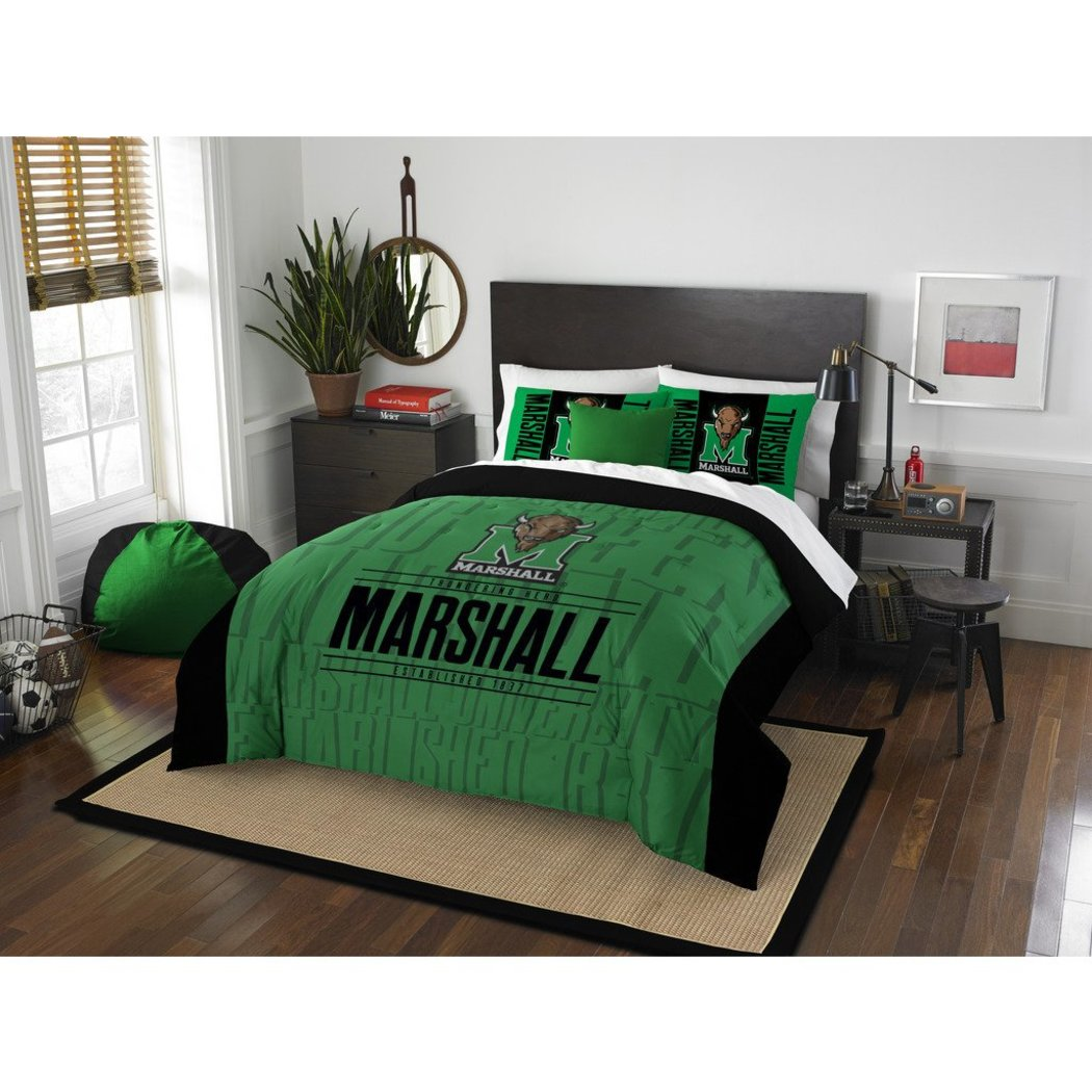 NCAA Marshall Thundering Herd Comforter Full Queen Set Sports Patterned Bedding Team Logo Fan Merchandise Team Spirit College Basket Ball Themed Black - Diamond Home USA