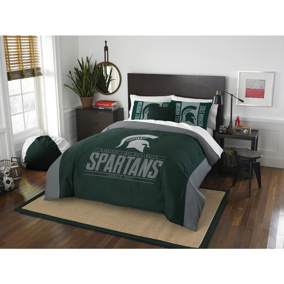NCAA Michigan State Spartans Comforter Full Queen Set Sports Patterned Bedding Team Logo Fan Merchandise Team Spirit College Basket Ball Themed Green - Diamond Home USA