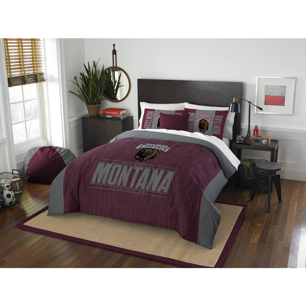NCAA University Montana Grizzlies Comforter Full Queen Set Sports Patterned Bedding Team Logo Fan Merchandise Team Spirit College Basket Ball Themed - Diamond Home USA