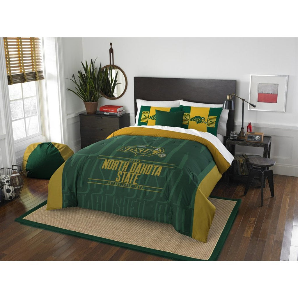 NCAA North Dakota State Bison Comforter Full Queen Set Sports Patterned Bedding Team Logo Fan Merchandise Team Spirit College Basket Ball Themed Green - Diamond Home USA