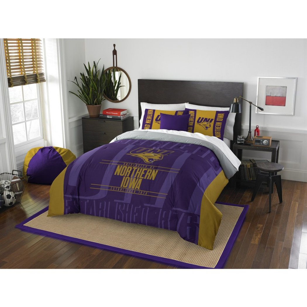 NCAA University Northern Iowa Panthers Comforter Full Queen Set Sports Patterned Bedding Team Logo Fan Merchandise Team Spirit College Basket Ball - Diamond Home USA