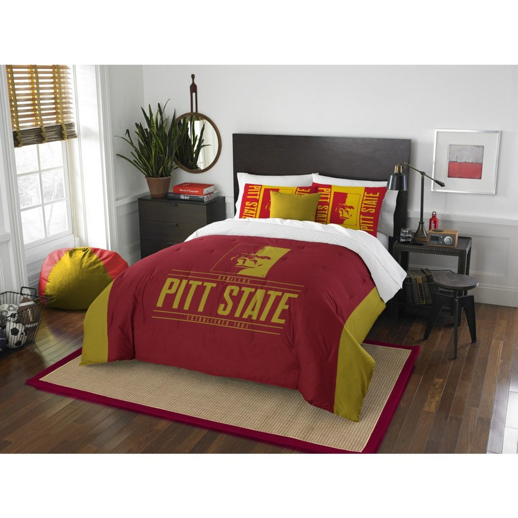 NCAA Pittsburg State University Gorillas Comforter Full Queen Set Sports Patterned Bedding Team Logo Fan Merchandise Team Spirit College Basket Ball - Diamond Home USA