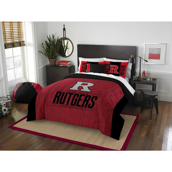 NCAA Rutgers Scarlet Knights Comforter Full Queen Set Sports Patterned Bedding Team Logo Fan Merchandise Team Spirit College Basket Ball Themed Black - Diamond Home USA