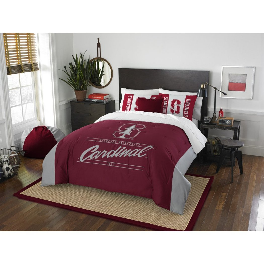 NCAA Stanford University Cardinal Comforter Full Queen Set Sports Patterned Bedding Team Logo Fan Merchandise Team Spirit College Basket Ball Themed - Diamond Home USA