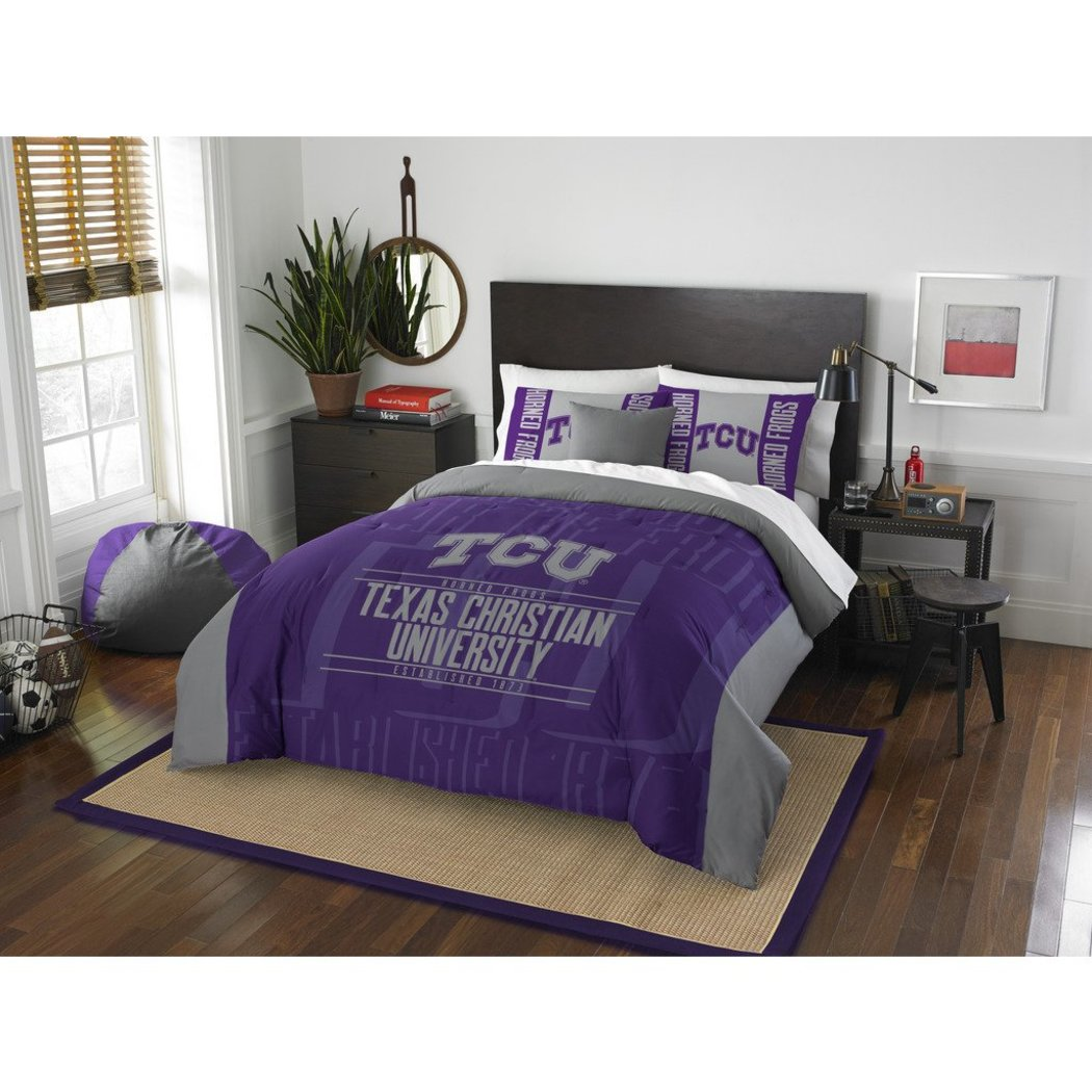 NCAA TCU Horned Frogs Comforter Full/Queen Set Sports Patterned Bedding Team Logo Fan Merchandise Team Spirit College Basket Ball Themed Grey Purple - Diamond Home USA