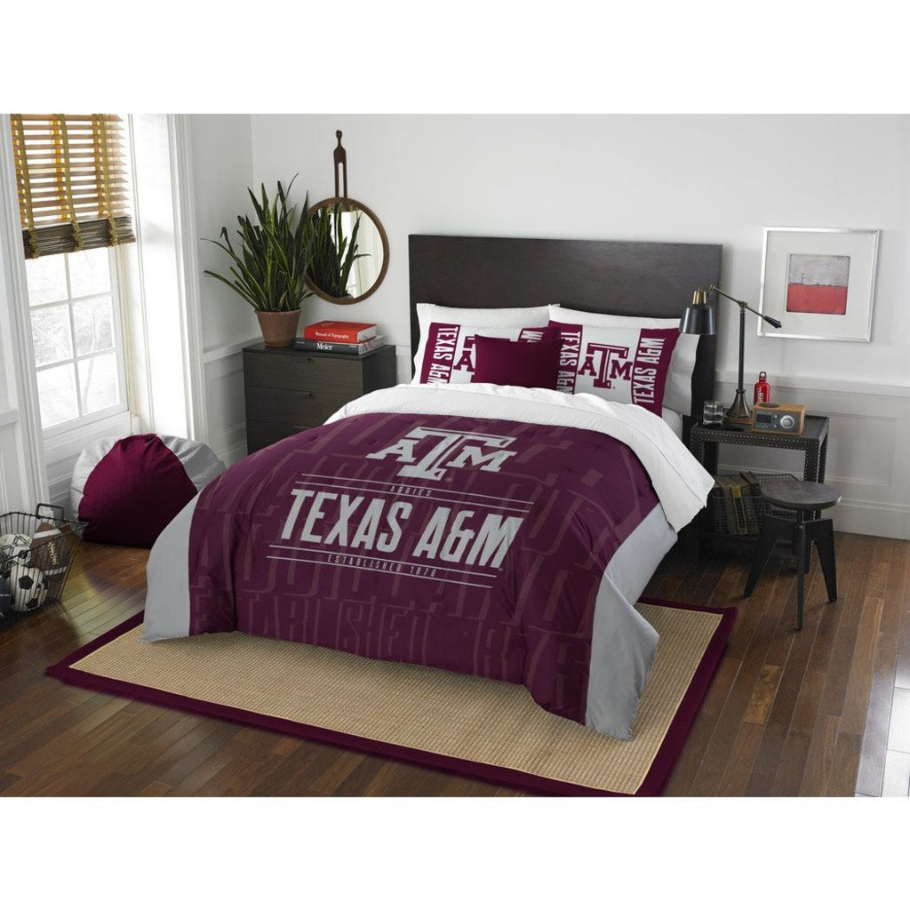 NCAA Texas &M University Aggies Comforter Full Queen Set Sports Patterned Bedding Team Logo Fan Merchandise Team Spirit College Basket Ball Themed - Diamond Home USA