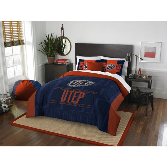 NCAA University Texas at El Paso Miners Comforter Full Queen Set Sports Patterned Bedding Team Logo Fan Merchandise Team Spirit College Basket Ball - Diamond Home USA